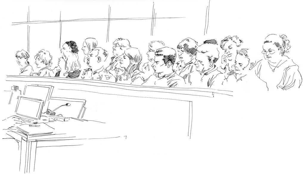Hand drawing of jury in Illinois Supreme Court