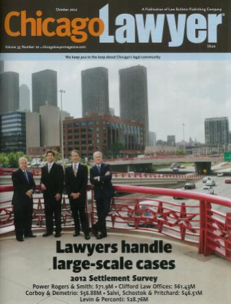 Chicago Lawyer Magazine front cover 2012